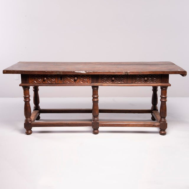 Rustic Portuguese All Original 18th Century Carved Walnut Table For Sale - Image 3 of 13