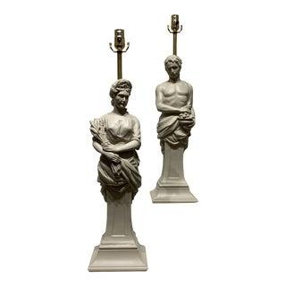 Vintage Italian Terra Cotta Figural Lamps - a Pair For Sale