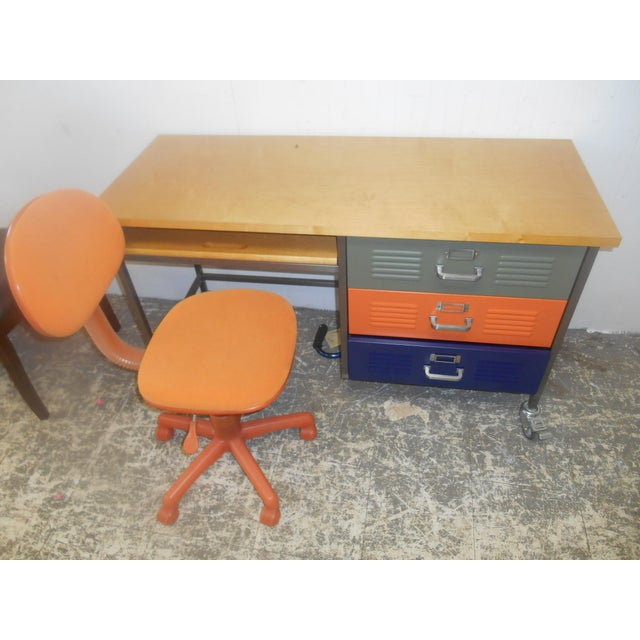 Awesome Mid-Century Industrial Design Home Office / Student Computer/ Writing Desk with Multi-Colored Metal Drawers and a...