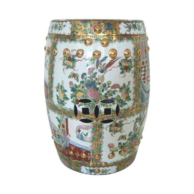 Chinese Rose Medallion Garden Seat/Drum Stool, Gilt Top & Butterflies For Sale