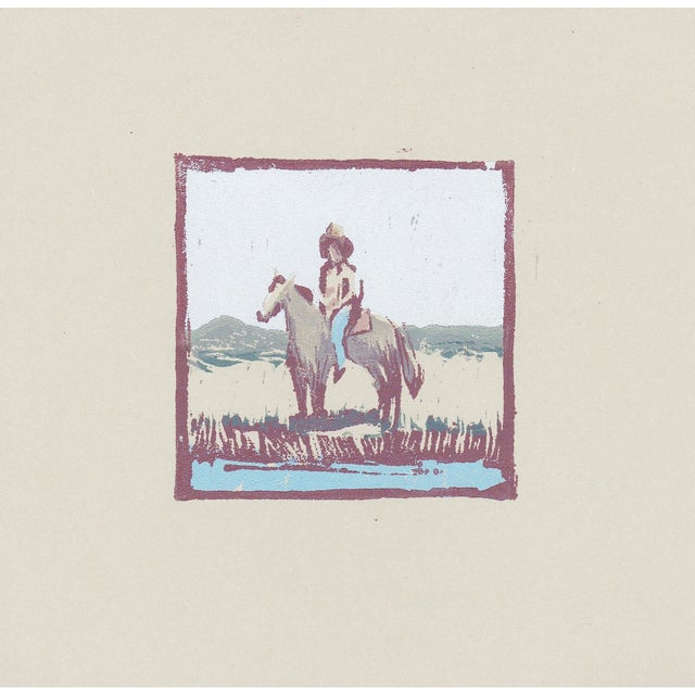 One of a Kind Cowboy Woodblock Print by Michelle Farro For Sale
