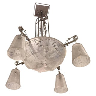 Muller Freres Signed French Art Deco Chandelier For Sale