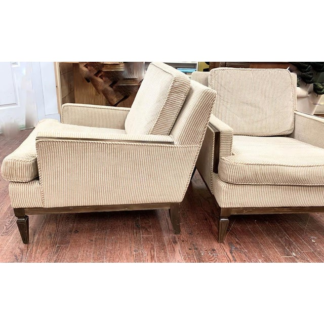 Mid-Century Modern Pair, Mid Century Club Chairs on Beige For Sale - Image 3 of 7