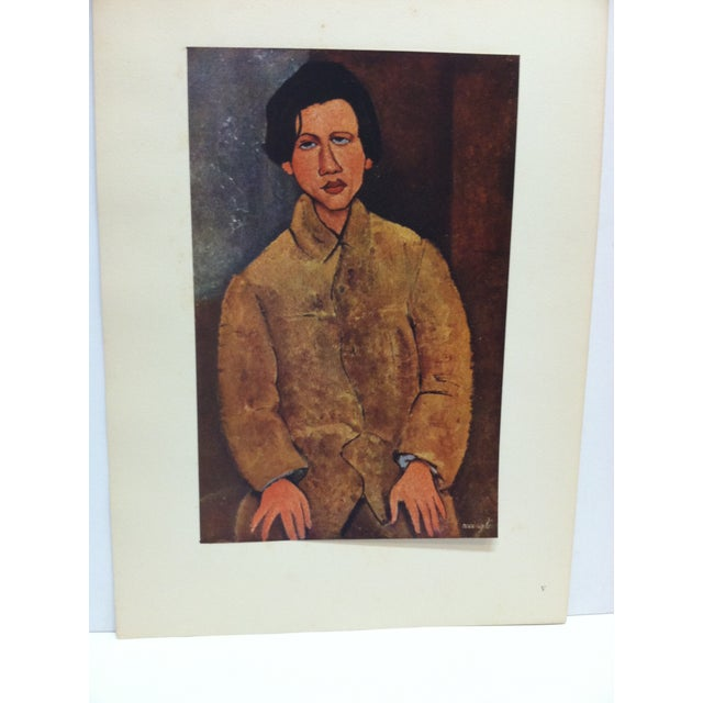 """This is a Mounted French Color Print that is titled """"Portrait De Soutine"""" by Modigliani. The Print is dated Paris 1947 and..."""