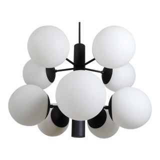 Mid Century Molecular Structure Chandeliers With Ten Hand Blown Opal Glass Globes For Sale