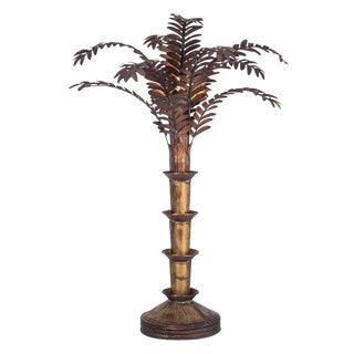 Maison Jansen Style Palmtree Table Lamp in Copper For Sale