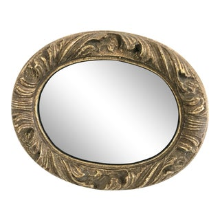 Vintage Oval Gilt Wood Smoked Glass Mirror For Sale