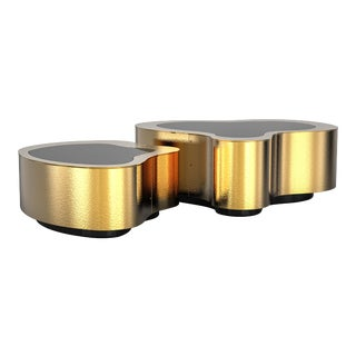 Covet Paris Wave Hammered Brass Coffee Table For Sale