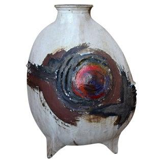 Mid-Century Stoneware Vase Signed For Sale