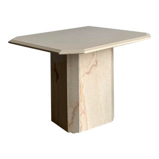 1980s Polished Travertine Side Table For Sale