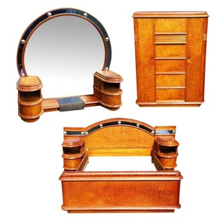 Grand Hollywood Art Deco Cobalt Blue Glass and Bird's-Eye Maple Bedroom Set