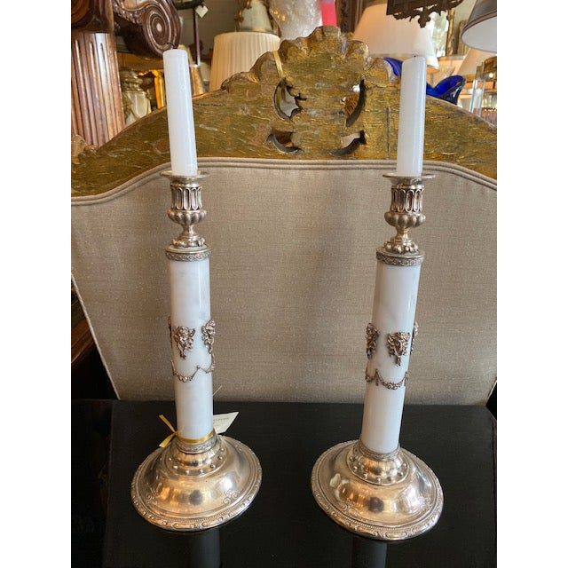 1900s - 1940s English Sterling & Marble Candles With Gargoyle Motif - a Pair For Sale - Image 12 of 13