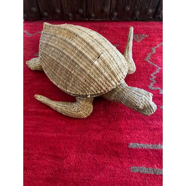 Tan Mario Lopez Torres Woven Sea Turtle Decorative Storage Container For Sale - Image 8 of 8
