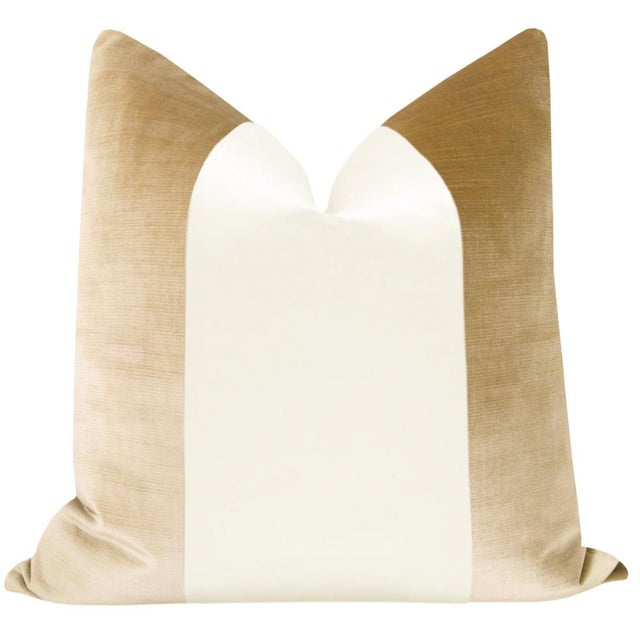 "Pair of 22"" Champagne velvet pillows with an off-white alabaster silk center panel. Meticulously handcrafted with serged..."