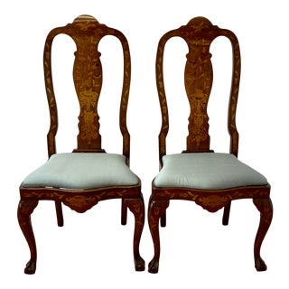 Pair of Early 20th Century Inlaid Chippendale Style Side Chairs For Sale