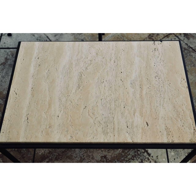 """Contemporary Design Frères """"Diagramme"""" Wrought Iron and Travertine Side Tables - a Pair For Sale In Los Angeles - Image 6 of 11"""