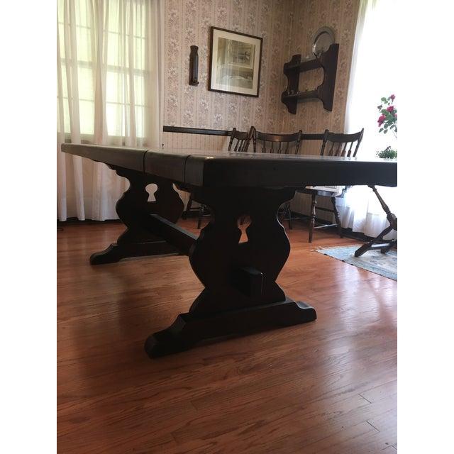 Large Farmhouse Trestle Table Vermont Chairish - Farmhouse conference table
