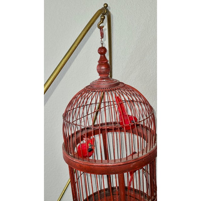 Antique Art Deco Brass Painted Blue Bird Cage Stand Holder With Red Wood & Metal Bird Cage For Sale In Denver - Image 6 of 12