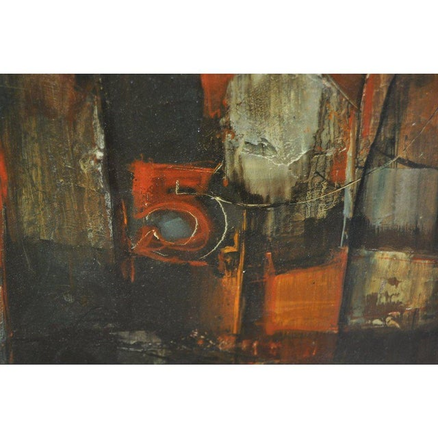 """Abstract 1960's Gordon Corson """"Cargo East"""" Vintage Acrylic Painting For Sale - Image 3 of 8"""