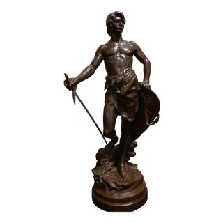 Antoine Bofill 19th C. Warrior W/Sword & Shield French Patinated Bronze Sculpture