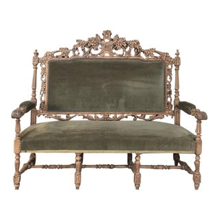 19th Century Black Forest Stripped Oak Hunt Sofa For Sale