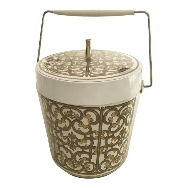1980s Mid-Century Modern George Briard Fleur De Lis Ice Bucket For Sale