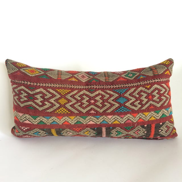 Burgundy Turkish Kilim Pillow - Image 2 of 11