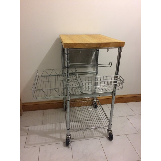 Chrome Kitchen Cart With Wood Butcher Block Top For Sale - Image 7 of 13