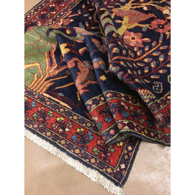 """Navy Blue Antique Persian Lillihan Tree of Life Rug, 4'3"""" X 8'2"""" For Sale - Image 8 of 10"""