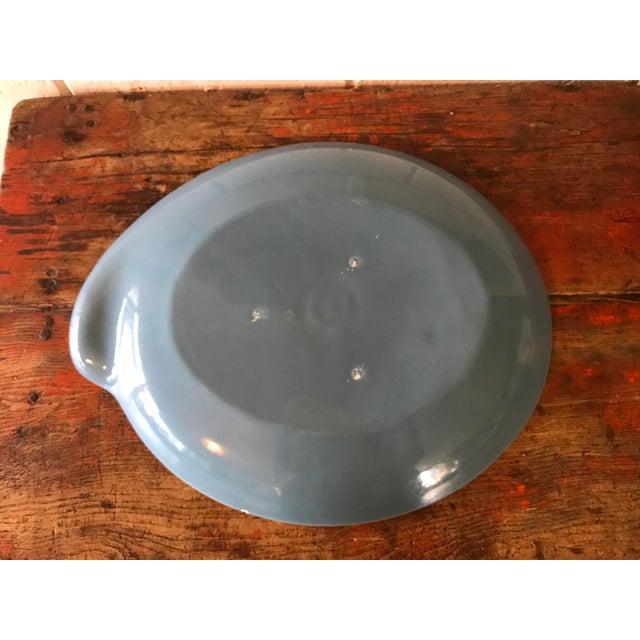 Ceramic Vintage Pottery Palette Shaped Blue Glazed Platter For Sale - Image 7 of 8