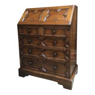 20th Century English Traditional Carved Tiger Oak Secretary Desk For Sale
