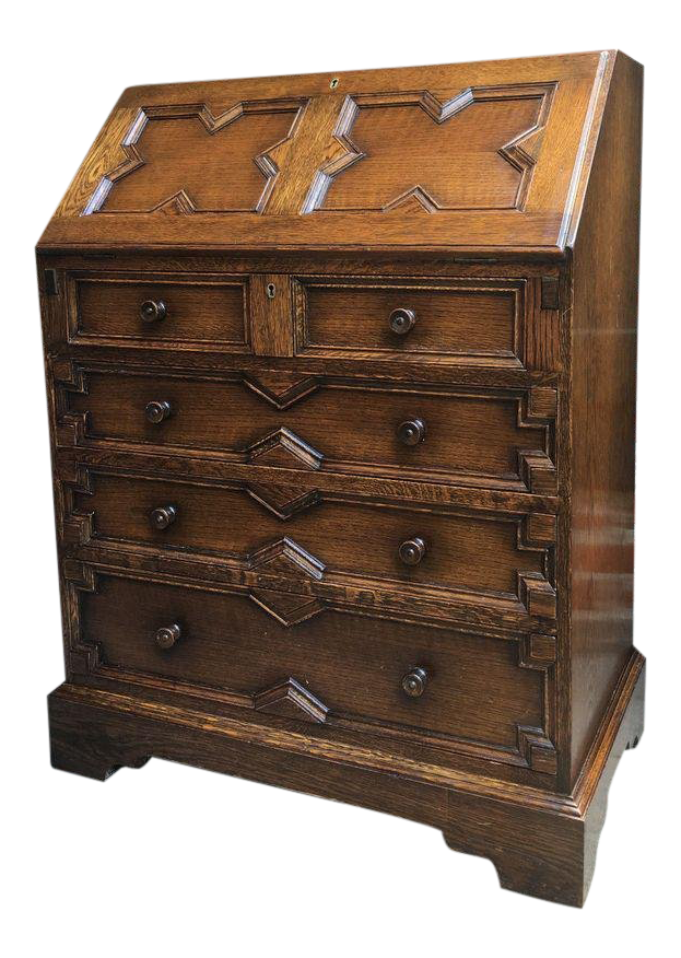 20th Century English Traditional Carved Tiger Oak Secretary Desk