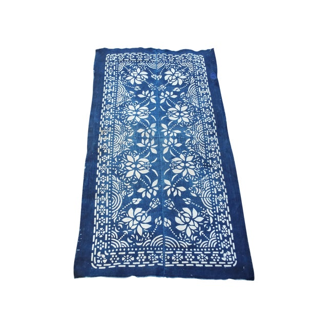 1920's Hand Batik Indigo Table Runner For Sale