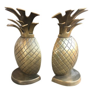 Vintage Brass Pineapple Bookends - a Pair For Sale
