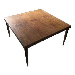 Danish Modern Square Walnut Table For Sale
