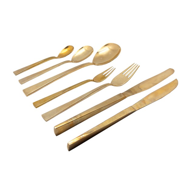 Modern Vintage Brass Flatware - Service for 12 For Sale - Image 3 of 3