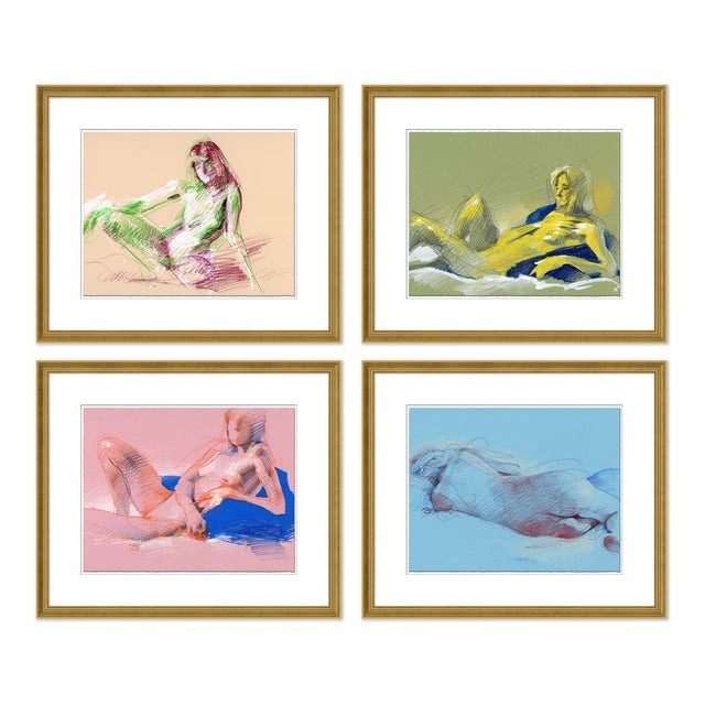 Paper Figure Horitzontal, Set of 4 by David Orrin Smith in Gold Frame, Small Art Print For Sale - Image 7 of 7