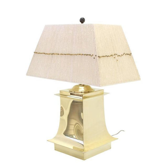 Mid-Century Modern Mid-Century Modern Brass Beads Shade & Brass Base Table Lamps -A Pair For Sale - Image 3 of 8