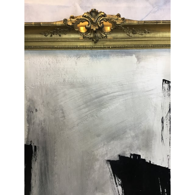 A stunning large formate black and white abstract by noted artist Graham Harmon, presented in an amazing antique undercut...