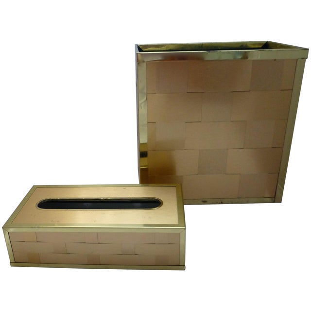 Retro Gold Toned Waste Basket and Tissue Cover - Image 1 of 11
