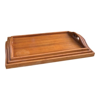 1970s Danish Modern Teak Wood Nesting Trays - Set of 3 For Sale