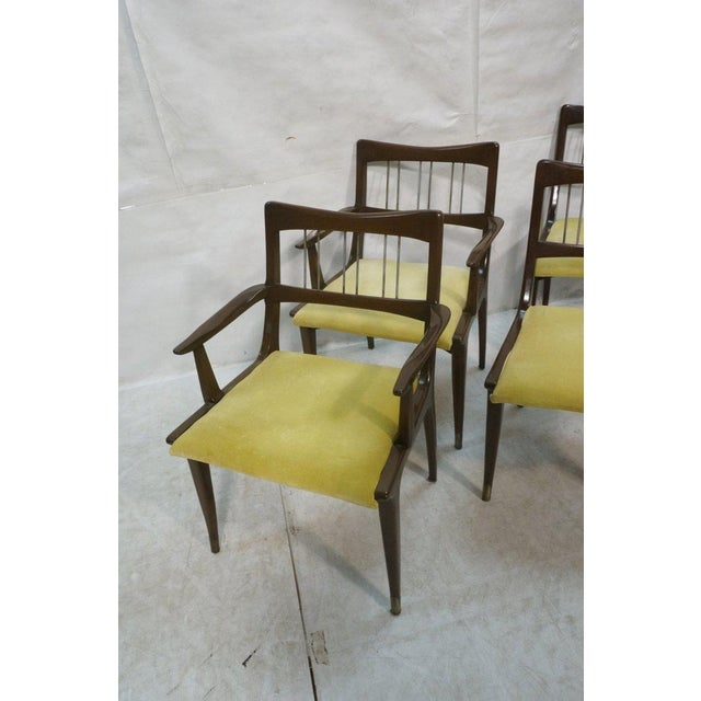 1960s Set of 6 Lane Mid-Century Modernist Walnut Dining Chairs W Metal Rods and Brass Sabots For Sale - Image 5 of 9