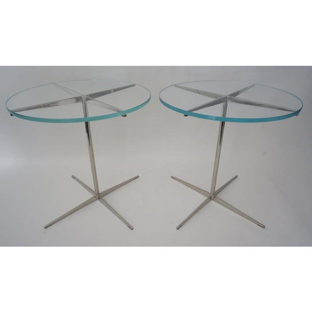 Vintage Drinks or Side Tables Glass on Polished Steel Pedestal - a Pair For Sale In West Palm - Image 6 of 12