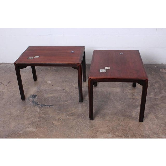Pair of Edward Wormley for Dunbar Tables with Natzler Tiles - Image 5 of 10
