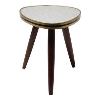 Small Mid Century German Modern Walnut Tripod Side Table