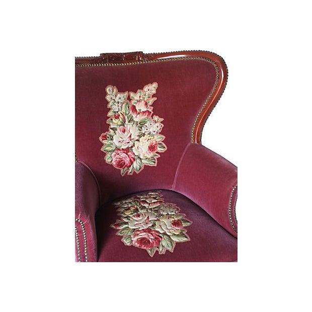 Burgundy Fireside Chair - Image 3 of 3
