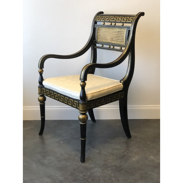 Hollywood Regency Gold & Black Greek Key Accent Chair by Maitland Smith For Sale - Image 11 of 11