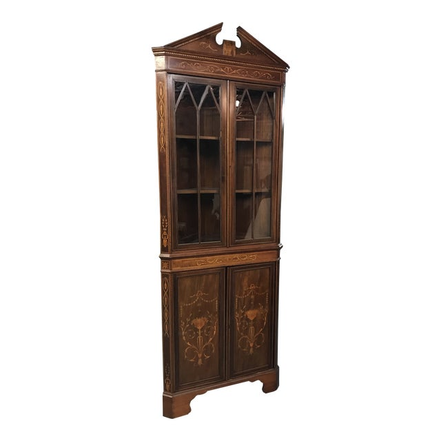 20th Century American Classical Inlaid Corner Cupboard For Sale