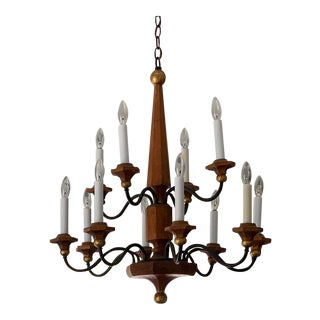 Colonial Style Twelve Candle Wood Chandelier For Sale