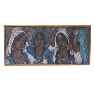Magnificent Mid Century Oil Painting Portrait Four Indian Women on Canvas 1967 Original